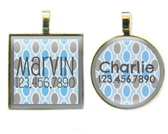 Retro Blue and Gray Dots Silver Pet ID Tag