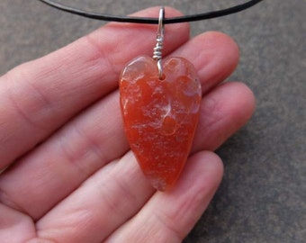 Heart pendant necklace in Carnelian - heart jewelry - unique natural gem stone heart necklace -  ethically sourced crystal
