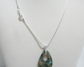 Paua shell pendant necklace on sterling silver chain