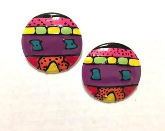 Vintage 80s 90s COLORFUL CIRCLE Earrings