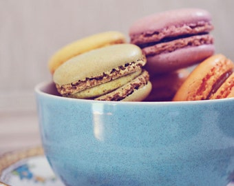 Still Life Photograph, Macarons Photo, Food Photography, French Cookies, Kitchen Decor, Fine Art Print, Vintage Style, Shabby, Blue Teacup