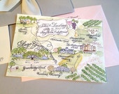 Reserved for Meaghan - Watercolor Map Single Sided Prints, Envelopes and digital addressing
