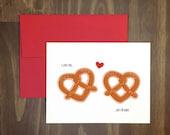 naughty food card / i love you, soft OR hard / sex card / food pun / dirty / heart pretzels / pretzel lovers / anti valentine / blank