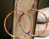 origins : LOTUS, beaded boho fish hook metal artisan earrings