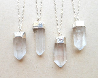 Crystal necklace healing crystal quartz necklace sterling silver raw crystal point silver dipped crystal jewelry