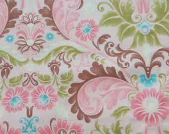 Pink Cotton Fabric by the Yard or Half Yard Fabric, or fat quarter, Floral Fabric,  Quilting Fabric,