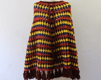 Colorful bohemian shawl vintage cape style sweater knit striped shawl