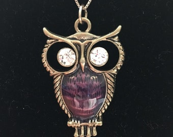 Vintage Amethyst Enamel Rhinestone Owl Pendant Necklace