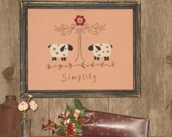 "Primitive Stitchery 8 x 10"" - Simplify - Sheep - Willow Tree - Primitive Home Decor by MockaMooseMarket"