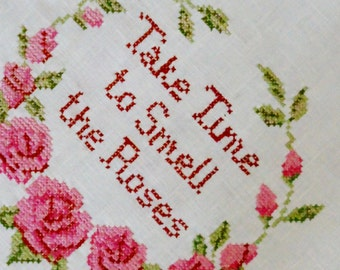 Vintage Sampler Take Time To Smell The Roses Completed Needlework Needles N Hoops 1980s