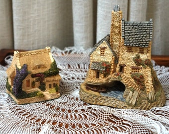 Vintage David Winter Cottages Tamar Cottage West Country Collection 1980s Set of Two