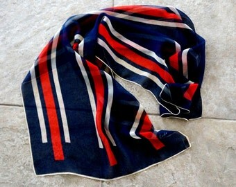 Vintage Echo Scarf Designer Stripes Silk Chiffon See Through Oblong Red White Blue 1960s