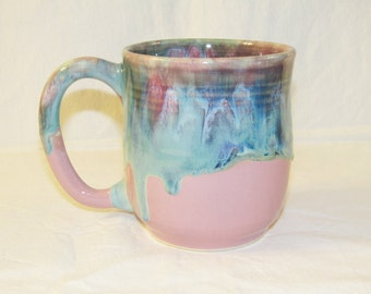 Pottery Chick mug in pink, purples, and greens