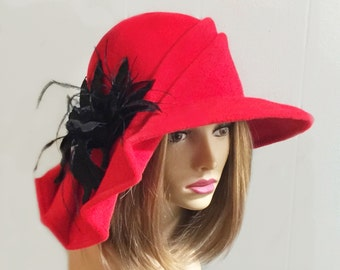Claire, Lovely Fur Felt Hat, truly one-of-a-kind, color red with featherd velvet flower