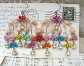 spring bow earrings rassemblage bold chandelier shabby chic