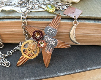 steampunk star necklace assemblage moon gear sentiments
