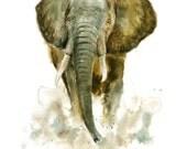 ELEPHANT Original watercolor painting 11x14inch(Vertical orientation)