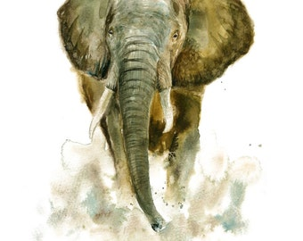 ELEPHANT Original watercolor painting 11x14inch(Vertical orientation)