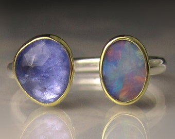 Boulder Opal and Tanzanite Ring,18k Gold and Sterling Silver, Open Stone Opal Ring - sz 6.75