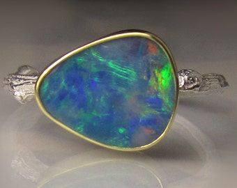 Boulder Opal Ring, Boulder Opal Twig Ring, Blue Opal Ring, 18k Yellow Gold and Sterling Silver Opal Ring, Australian Opal Ring