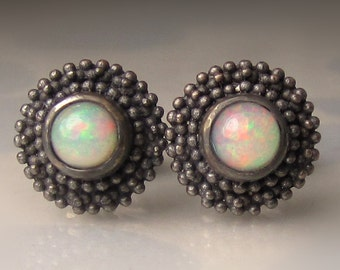 Opal Earrings, Granulated Ethiopian Opal Stud Earrings in Blackened Sterling Silver