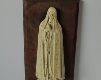 Vintage Pewter and Wood Virgin Mary Wall Hanging. Holy Mother