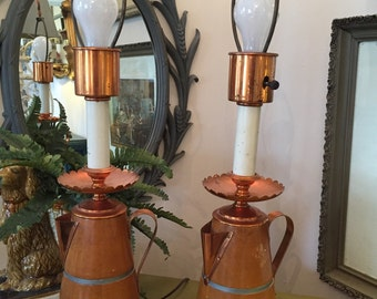 Vintage Coffee Pot Lamp with Copper Details