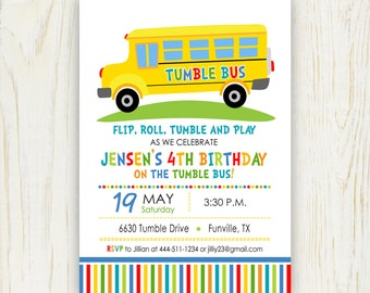 Tumble Fun Bus Birthday Party Invitation Digital 5 x 7