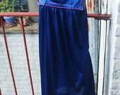 30% OFF Summer SALE Vintage 1960s Navy Blue Vaity Fair Nightgown with Embridered Flowers L/Xl