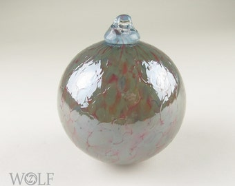 Blown Glass Ornament Suncatcher Raspberry Pink and Grey Tan Speckle