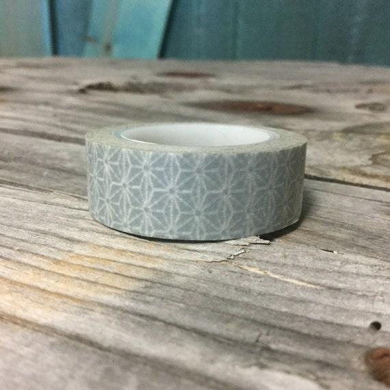 Washi tape 15mm white geometric design on light grey for Geometric washi tape designs