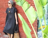 LINEN, Irra Oversize Dress, Midi, Sleeveless, Summer, Spring, Boho, Plus Size, Black, White, Navy, Follow me on Instagram: @mybalicloset