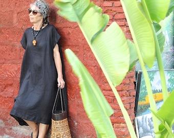 LINEN, Caftan, Kaftan, Oversize Dress, Midi, Resort Wear, Bohemian, Tropical Clothing, Beach Dress, Coverup, Irra Dress, 4 Sizes