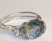 Ring, Jewelry, Dark Gray Auroa Borealis Czech Crystal Ring, Sterling Silver