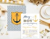 SALE. Nautical Baby Shower Invitations. Printable. Custom Shower Invites. Anchor Invitations. Ahoy it's a boy! Nautical Bridal Shower.