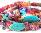 Handcrafted Plus Size Boho Turquoise 3 Piece Sari Stackable Bangle Bracelet Set OOAK