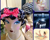 Retro pin up girl style shower cap Dr. Who theme