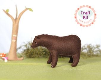 Felt Animal Sewing Kit * DIY Stuffed Bear Kit * Make Your Own Cute Grizzly Bear Stuffie
