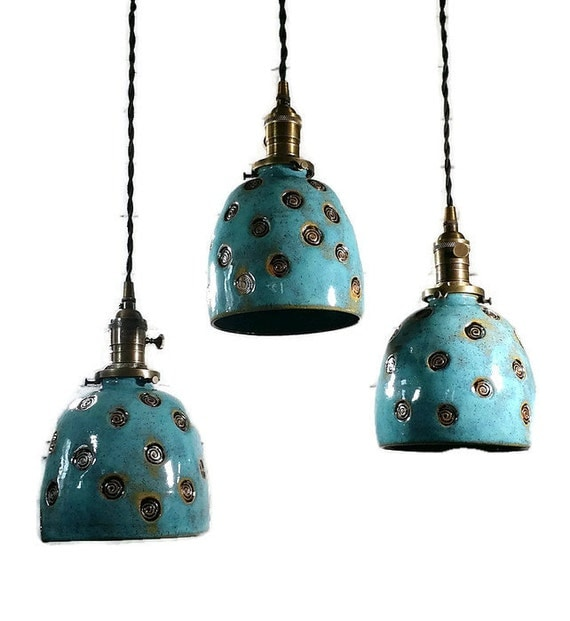 Circle Of Life Handcrafted Pottery Hanging Pendant Light