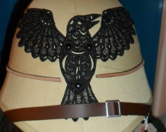 Steampunk Military Pith Helmet with Raven
