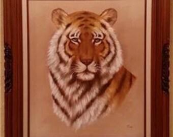 """Vintage Large Framed Bengal Tiger Painting Signed Rex 27-1/4 x 31-1/4"""""""