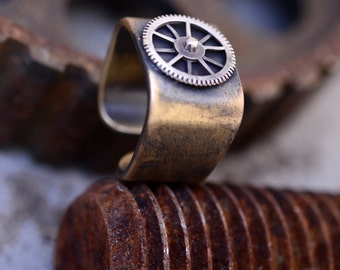 steampunk -Architectural Ring-Cool Mens Ring-Square Silver Signet Ring-Cool Wedding Ring-geek engagement ring-adjustable ring-steam punk-MJ