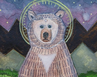 Bear Icon - Original Watercolor Painting 5 X 7 - Framed