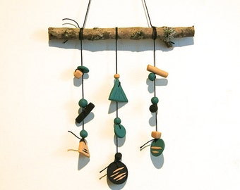 Teal Forest Mobile // Polymer Clay Beads on Mossy Branch // Handmade