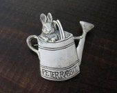 Vintage Sterling Silver Peter Rabbit Brooch Pin by F.W. Co. H & H Sterling, Peter Rabbit in a Watering Can