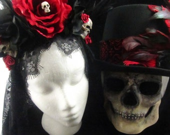 Crimson Skull Day of the Dead Set, female headdress, male top hat, and male skull mask