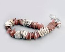 Rhodochrosite Bracelet   Pink Gemstone   Pink Bracelet   Chunky Bracelet   Silver Bead Bracelet   Pink Bead Bracelet   Rhodochrosite Beads