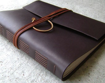 "8.5""x 11"" leather journal, dark brown journal, handmade leather journal by Dancing Grey Studio (2025)"