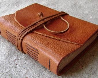 "Leather journal, 4"" x 6"", rustic orange,  handmade journal by Dancing Grey Studio(1736)"