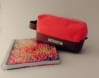 Peach Pink Cosmetic Pouch, Pencil Pouch, Gadget Case,  Zipper Pouch, Pencil Case, Makeup Bag, Makeup Case